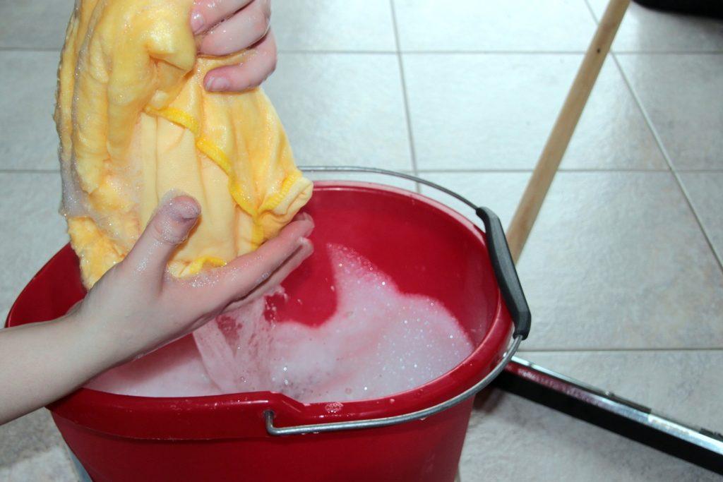 cloth and bucket